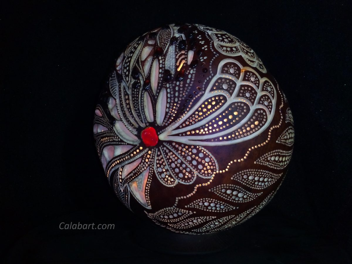 "Designer handmade lamp from a pumpkin ""Turkish pomegranate"""