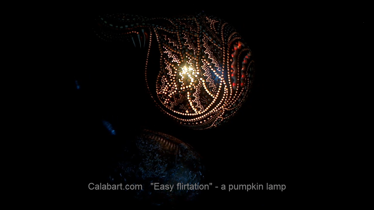 "Designer handmade lamp from a pumpkin ""Light flirtation"""