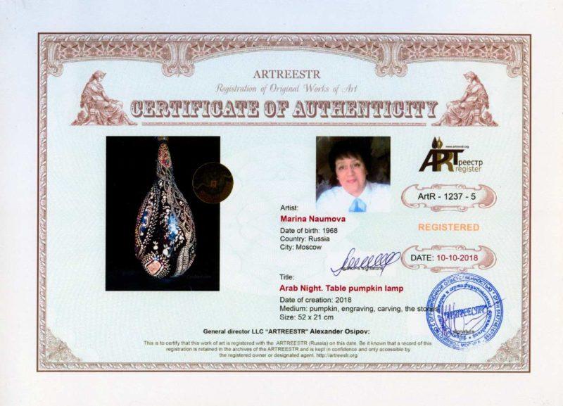 Сертификат Международного реестра произведений искусства