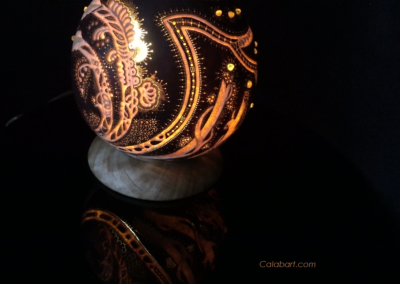 "Designers Lamp De Grass from the African pumpkin ""Orange Wind"""