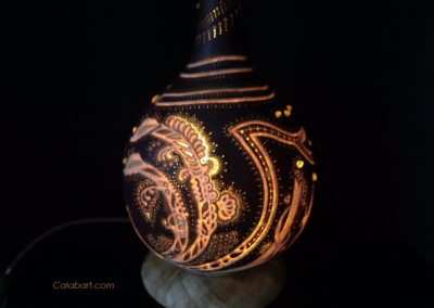 """Дизайнерская лампа из африканской тыквы """"Оранжевый ветер"""""""